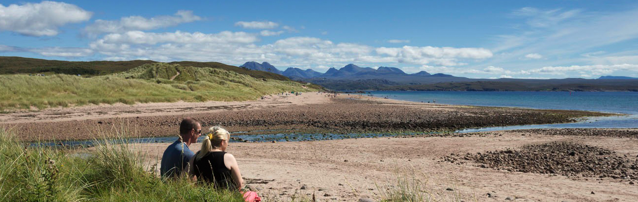 Visit Big Sands Beach, Scotland, with Bunk Campers.