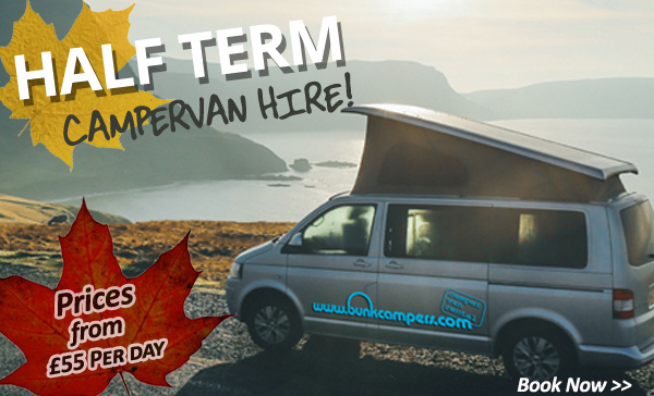 Half term Campervan and Motorhome Hire with Bunk Campers