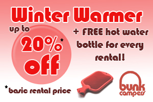 Campervan Hire Discounts - Bunk Campers - Winter Warmer