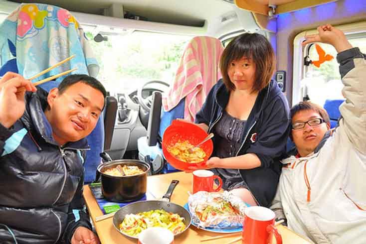 Camper van hire Ireland - cooking in your camper