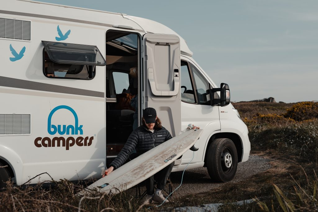 Rob waxed a surfboard during his campervan hire trip in Cornwall, England
