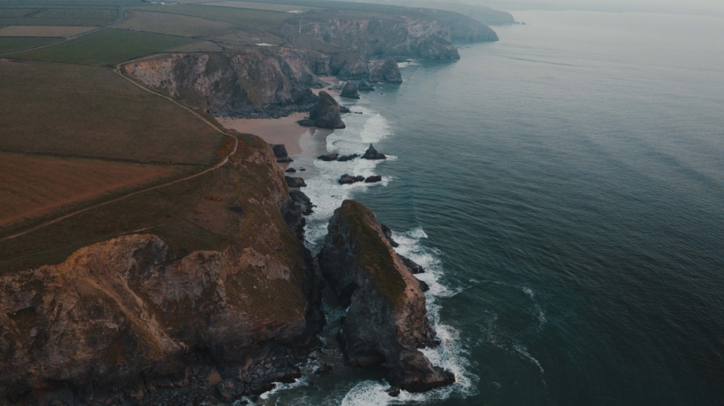 Aerial view of Bedruthan Steps, Cornwall.