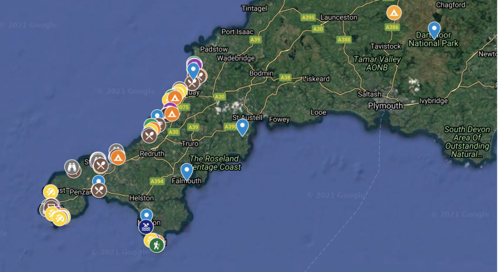 Map of locations to visit along the Ultimate Cornwall Road Trip