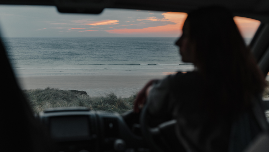 Sunset over Gwithian beach from your hired campervan in england