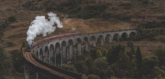Glenfinnan Viaduct, also known as the Hogwarts Express from Harry Potter.