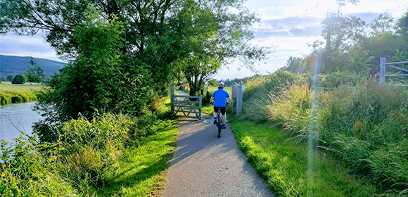 A cyclist cycling through Kildare and Waterford